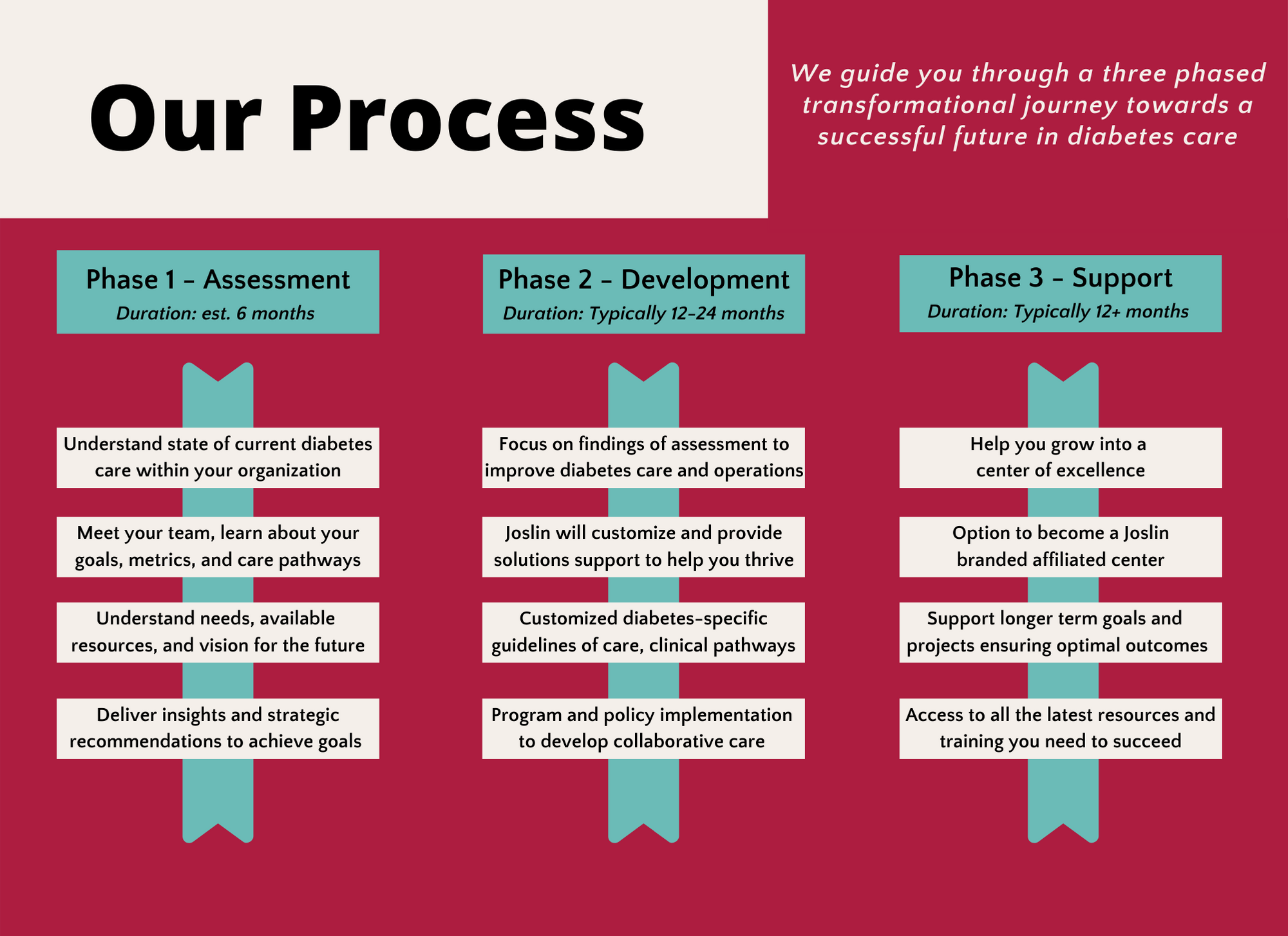 Our Process graphic that explains how the education department works with clients.