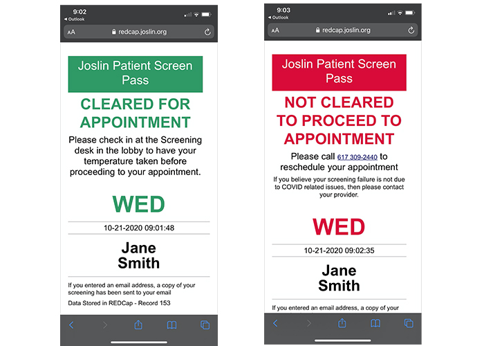 Examples of the Joslin Patient Screen Pass