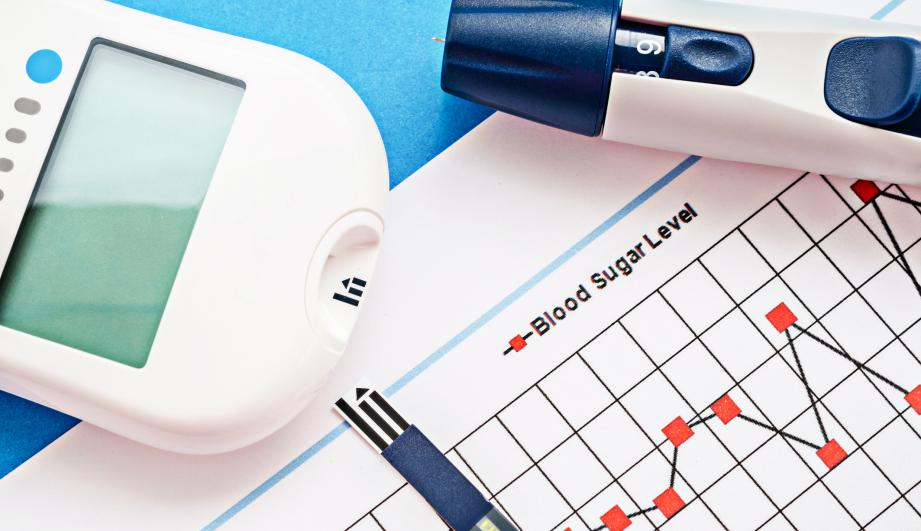 Blood sugar measurement stock photo