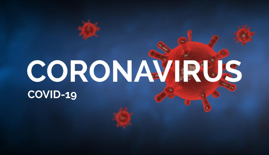 "Covid-19 concept image with ""Coronavirus covid-19"" text against a blue background. Red viruses made with rendering 3D"