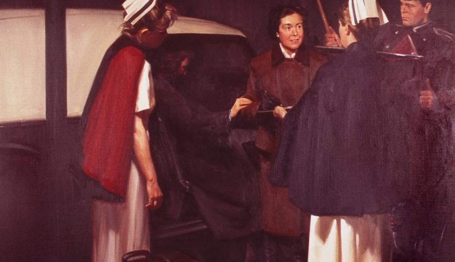 Dr. Priscilla White assisting a patient as depicted in a painting at Joslin Diabetes Center.
