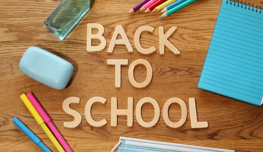 Colourful letters saying 'back to school'.