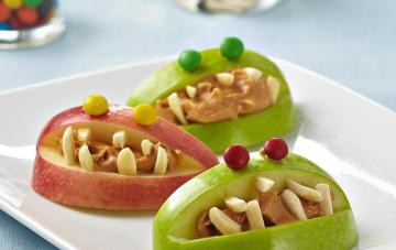 Monster apple bits on a plate