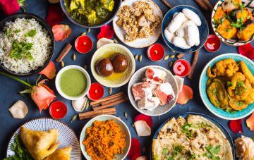 Table of Indian food for diwali celebration