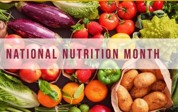 National Nutrition Month graphic with fruit and veggie background