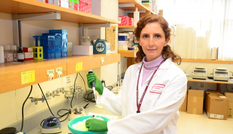 Dr. Cristina Aguayo-Mazzucato in her lab