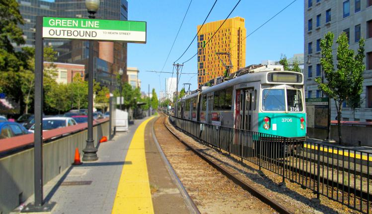 MBTA green line at longwood medical stop