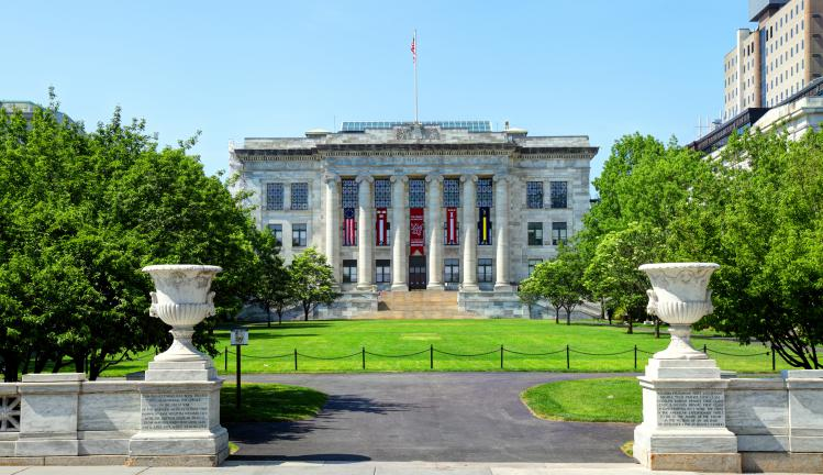 Daytime view of the Harvard Medical School quadrangle situated in the Longwood Medical Area
