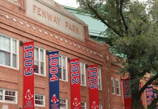 Banners outside Fenway Park